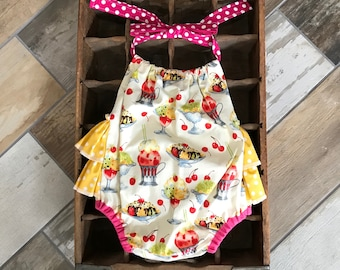 12 month Ready to Ship Ice Cream Shop Michael Miller Romper