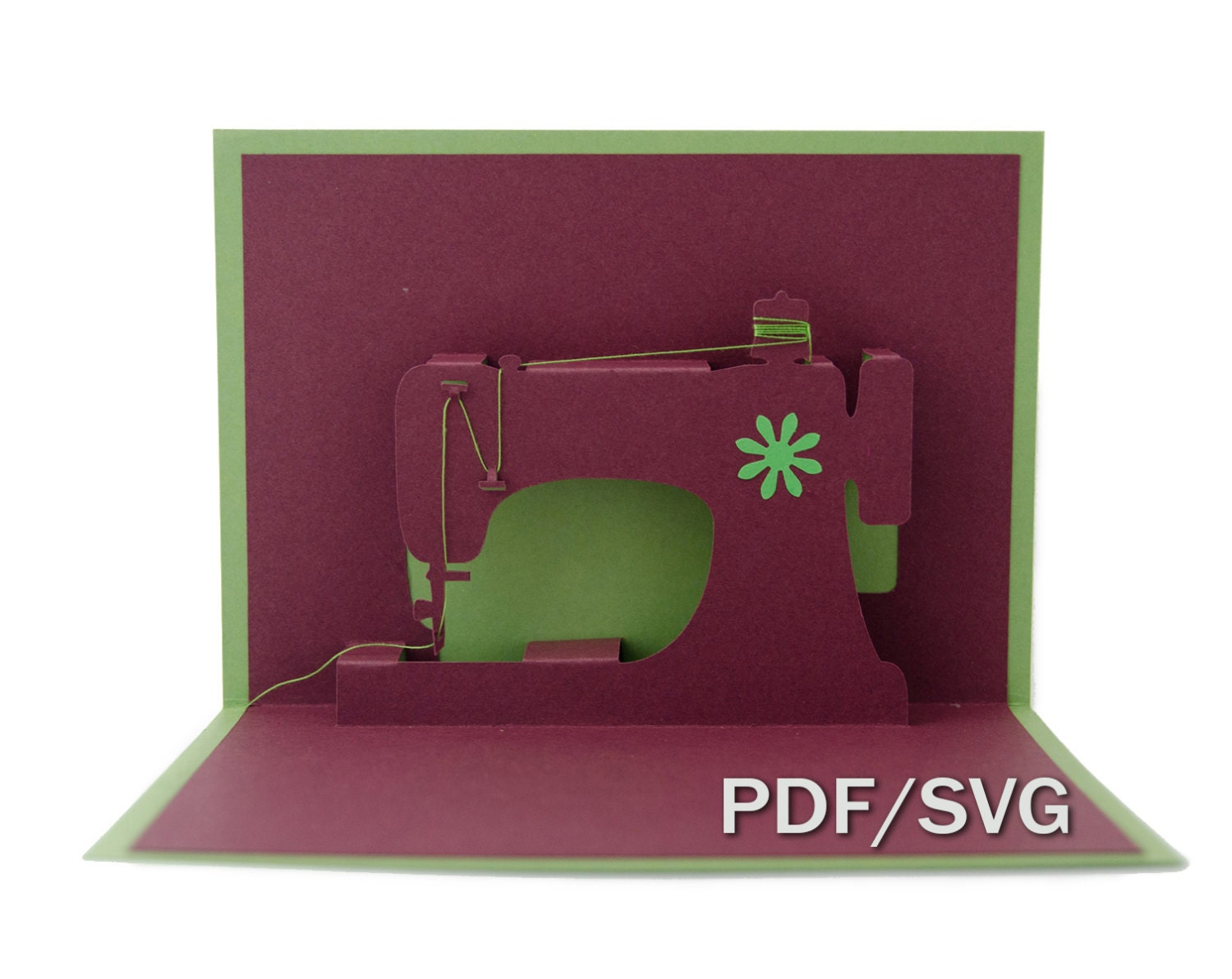 Templates PDF & SVG for Sewing machine 3D pop up card from KanKrai ...
