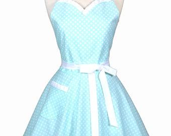 Sweetheart Retro Apron - Aqua Blue Polka Dot Wedding Apron - Womens Flirty Sexy Kitchen Pinup Cute Apron with Pocket