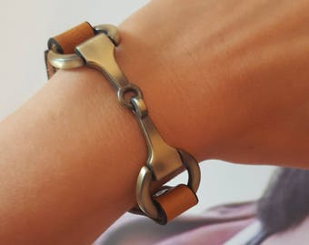 Leather Equestrian Bracelet with Snaffle Bit