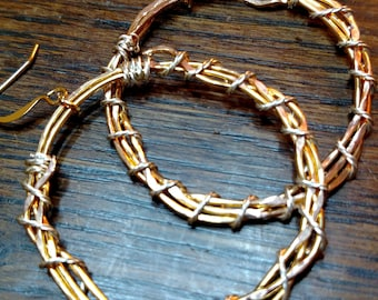 Hammered gold-plate and twisted wire hoops