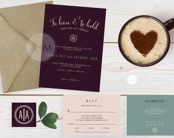 Wedding Invitation set, Modern Wedding Invitation, Printable Invitations, Classic invitation set : ANDREA Colour