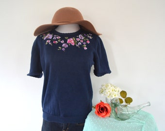Navy Embroidered Sweater Top
