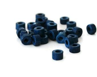 Navy Blue Mykonos Greek Ceramic 4x6mm Mini Tube Beads Navy blue Tube ceramic beads 30 pcs C 10 039
