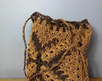 70s woven tote bag / large boho straw bag / vintage summer tote bag / large knotted straw bag / vintage market bag / boho 70s straw purse