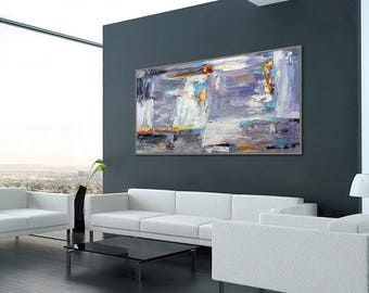 "Large Wall Art Palette Knife Painting Gray White hand painted Textured Abstract Artwork  36x72""/90x180cm"