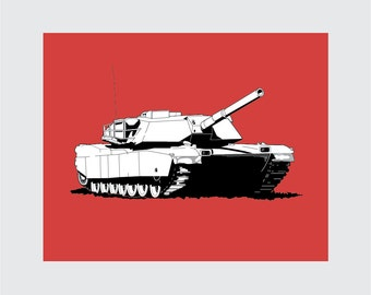 Tank Art Print, 8x10 PRINTABLE, M-1 Main Battle Tank, Instant Download, Digital