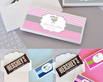 Baby Shower Candy Bar Wrapper Cover Personalized Candy Wrappers Baby Shower Chocolate Favors Personalized Chocolate Bar (EB4001B) 24| pcs