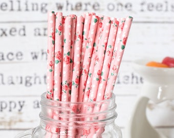Pink With Roses Paper Straws, Beautiful Straws for Wedding or Birthday Celebration, Roses Straws, Rose, Paper Straws, Wedding Straws