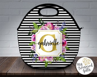 Personalized Lunch Tote, Custom Lunch Bag, Monogram Lunch Bag, Neoprene Lunch Tote, Custom Lunch Box, Personalized Lunch Bag, Insulated Bag