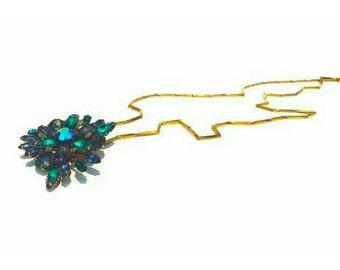 Multi color crystal brooch drop style necklace