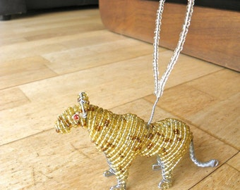 African Beaded Wire Animal Sculpture - LEOPARD Christmas Tree Ornament - Natural