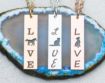 Vertical Pet Love Bar Necklace • Animal Love Necklace Pet Lover Gift • Personalized Pet Family Gift Dog Lover Gift Cat Lover Horse Love