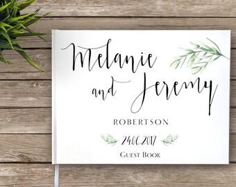 Floral Boho Wedding Guest Book, Rustic Wedding, Garden Wedding Guestbook, Custom Guest Book, Wedding Journal