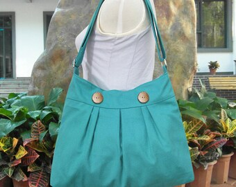 Turquoise green cotton canvas travel bag / shoulder bag / messenger bag / diaper bag / cross body bag, zipper closure