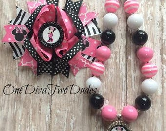 Minnie Mouse chunky necklace stacked hair bow