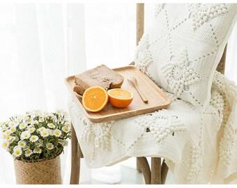 CROCHET BLANKET - Beige Embossment Blanket/Throw/Cushion Cover, Blanket, Throw, Cushion Cover, Gift for her, Handmade Crocheted Blanket