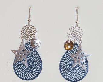 Prints, large stars drop earrings earrings Navy Blue, silver, stars, gift earrings