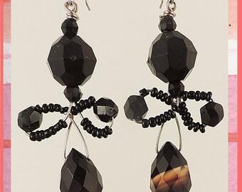 One of a kind Black Onyx, Jet and Quartz teardrop Earrings
