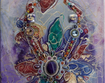 """Painting + Soutache necklace """"Diana"""""""