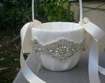 SALE - Wedding Flower Basket, Flower Girl Basket, Rhinestone/Pearl Flower Basket  - Style BK1010
