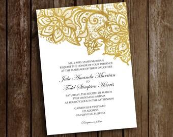 Gold Wedding Invitation-Gold Lace on White Invitation-Wedding Invitation-Lace Party Invitation-Wedding Invitation-Gold Lace Bridal Shower