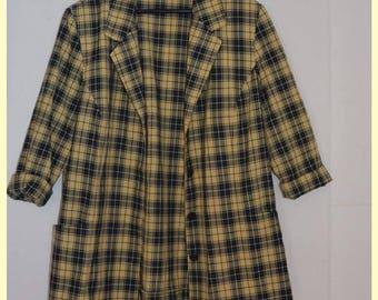 Vintage zwart/geel geblokt colbert    Size M