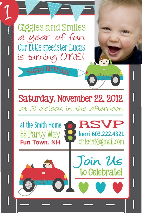 cars 1st birthday invitations - Boat.jeremyeaton.co