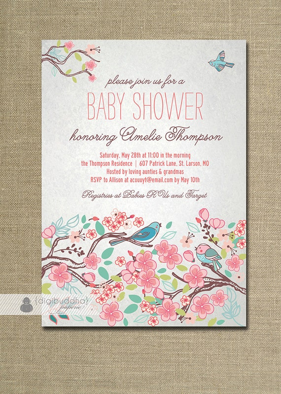 Bloom bird baby shower invitation garden tree floral baby girl like this item filmwisefo Image collections