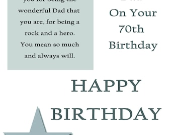 Dad 70 Birthday Card with removable laminate