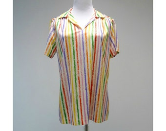 SALE!!! . CRAYON SCRIBBLES . 70s vintage shirt . fits a small to medium  .  made in u.s.a.