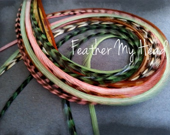 16 Long Whiting Eurohackle  Feather Hair Extension, 9-12 inches, Just Peachy