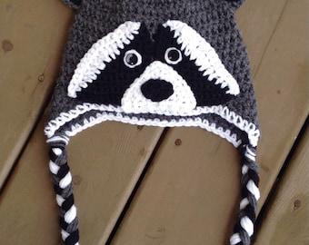 Crochet Raccoon Hat, Baby Crochet Hat, Photo Prop, Raccoon Hat, Crocheted Hats For Kids, Newborn Hats, Toddler Raccoon Hat