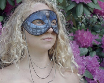 Red Spotted Purple Blue Butterfly Masquerade Mardi Gras Necklace Mask
