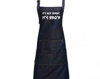 Fun Denim Cooking / BBQ Bib Apron, It's Not Burnt, It's BBQ'd, Unisex