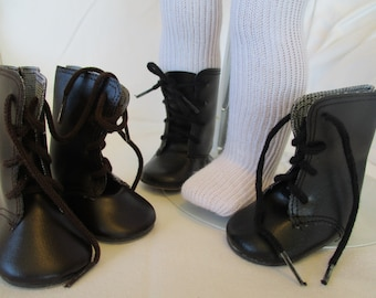 "18"" Historic Doll Boots and Stockings to fit your American Girl Doll in Black Brown or White"