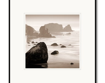 Black and white photography, Bandon Beach, Oregon Coast, seastacks, pacific ocean, rocks, waves, Oregon State, B&W photo, sepia photography