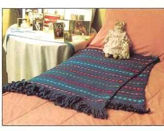 Crocheted Afghan Pattern - PDF Digital Download - Afgan with Colorful Stripes Crochet Pattern
