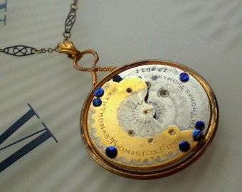 Steampunk Necklace, Antique Seth Thomas Watch Parts Pendant, Neo Victorian, Optometrist Lens, Blued Parts, Vintage NOS Chain, Steampunkology