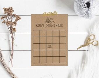 Floral Bridal Shower Games - Printable Bridal Shower Bingo - Bridal Shower Bingo Cards - Rustic Bridal Shower - Minimalist Bridal Shower