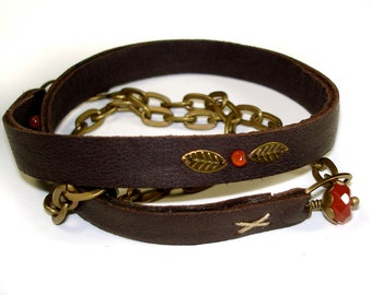 Stitched Leather Wrap Bracelet with Tiny Brass Leaves and Carnelian