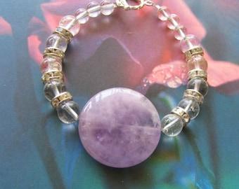 AMETHYST Bracelet with Crystal Quartz and rhinestones - gorgeous focal gemstone pretty lilac purple