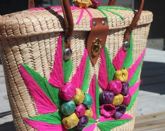 NEVER USED! 1950s 60s Bamboo Wicker Woven Pink Green Yarn Pink Purple Yellow Green Fruit Leaves Handle Purse Handbags Pocketbooks Bags