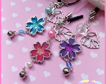 Flower charm strap key chain cute and kawaii