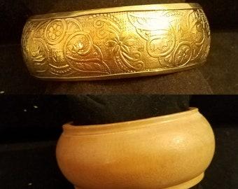 Gold Etched Bangle & Chunky Wood Cuff Bracelet