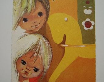 SALE * Vintage Mod 70s Flower Power Postcard Netherlands Birthday Post Card Mailed 1970s Childrens Faces Rocking Horse
