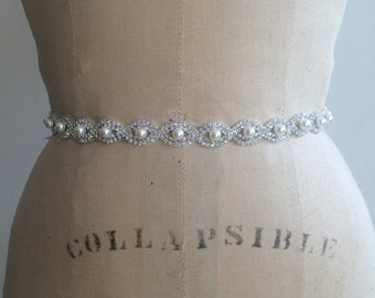 Bridal Sash-Bridal Belt-Bridesmaid Sash Belt-Small Pearl Rhinestone Beaded Bridal Belt Sash-Pearl Bridal Sash Belt-Pearl Wedding Sash Belt