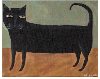 Black Cat PRINT - Cat Folk Art - Primitive Decor - Quirky Picture - Outsider Print  - Naive Art