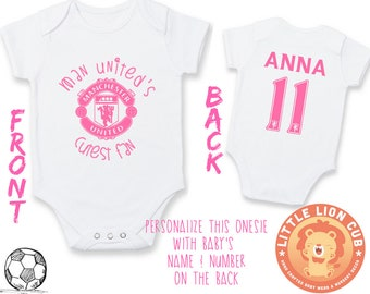 PERSONALIZED Girls Manchester United Baby Onesie with NAME    NUMBER Manchester United s Cutest Fan  9178d07c6ae