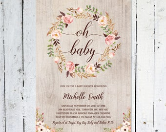 Baby Shower Invitation Girl, Oh Baby, Boho Baby Shower Invitation,  Spring, Summer, Rustic, Floral, Summer,  Printable, Printed